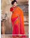 Orange And Red Faux Chiffon Saree
