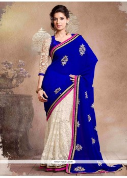 Off White And Blue Half And Half Saree