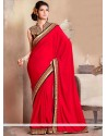 Dazzling Red Georgette Saree