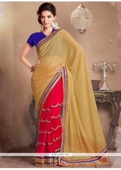 Red And Beige Half And Half Saree