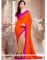 Beige And Orange Half And Half Saree