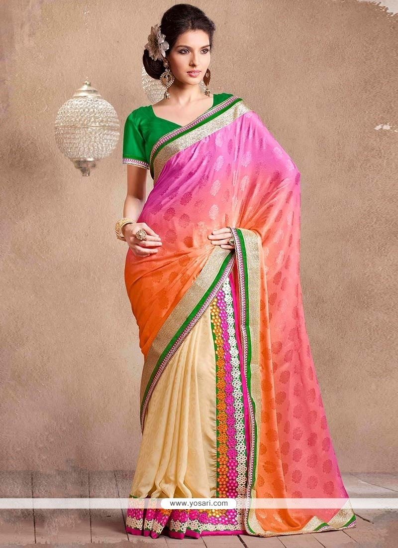 Beige And Pink Half And Half Saree