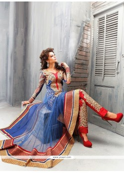 Splendid Blue Net Anarkali Suit
