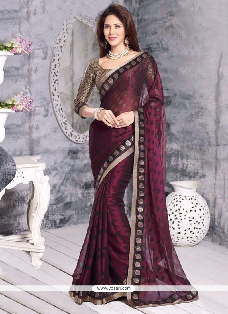 Wine Cotton Brasso Casual Saree