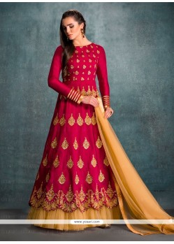Lurid Embroidered Work Banglori Silk Magenta Anarkali Salwar Kameez