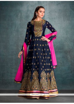 Patch Border Georgette Anarkali Salwar Kameez In Navy Blue