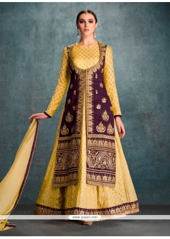 Dashing Embroidered Work Banglori Silk Purple And Yellow Anarkali Salwar Kameez