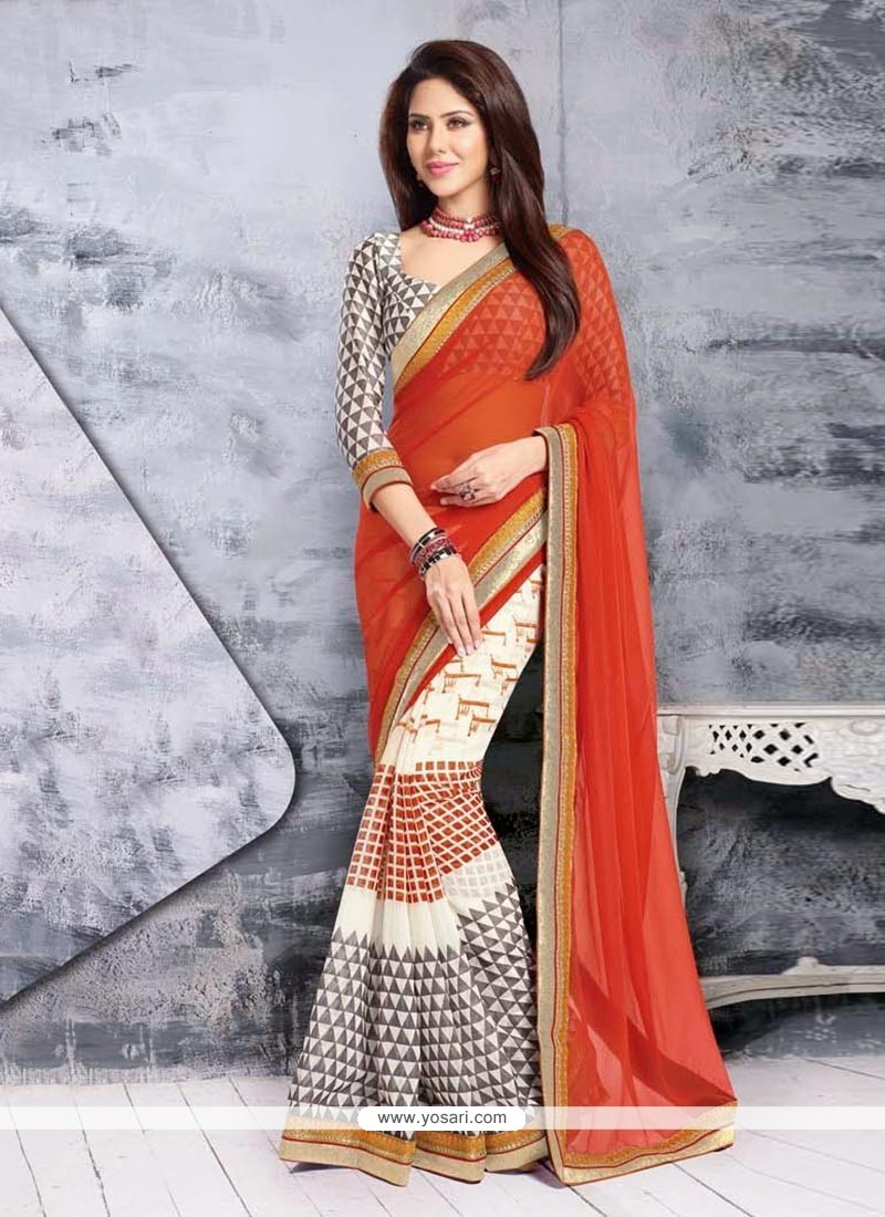 Off White And Orange Net Half And Half Saree