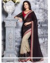 Black And Beige Brasso Half And Half Saree