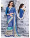 Luxurious Blue Chiffon Saree