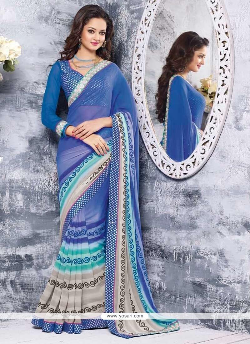 Luxurious Blue Chiffon Saree