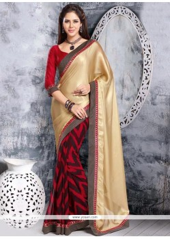 Beige And Red Satin Half And Half Saree