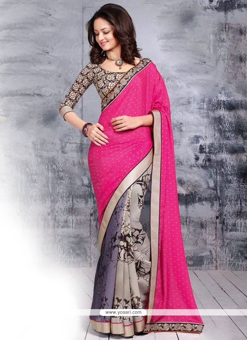 Grey And Pink Chiffon Saree