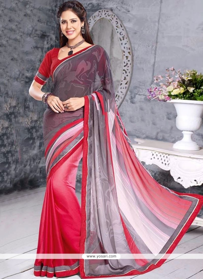 Pink And Grey Georgette Casual Saree