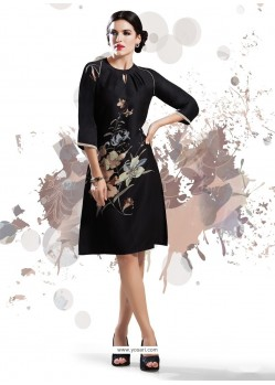 Imperial Print Work Black Faux Crepe Party Wear Kurti
