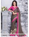 Alluring Grey Faux Chiffon Saree
