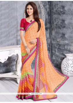 Charming Peach Cotton Brasso Saree