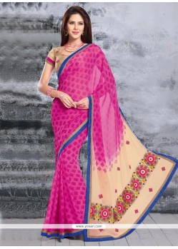 Magical Pink Faux Chiffon Saree