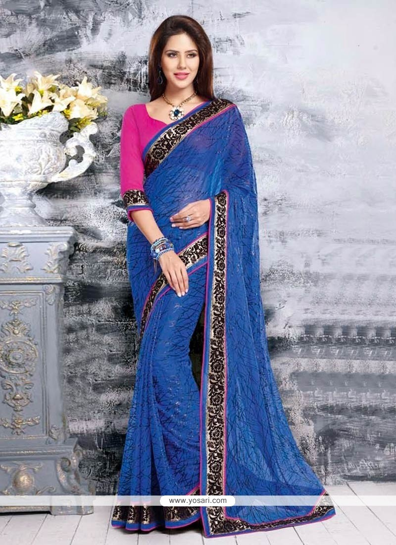 Magnetic Blue Chiffon Saree