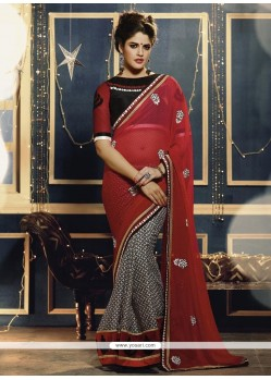 Red Faux Chiffon Casual Saree