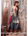 Glorious Grey Net Georgette Anarkali Suit