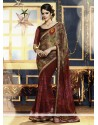 Maroon And Brown Shaded Printed Saree