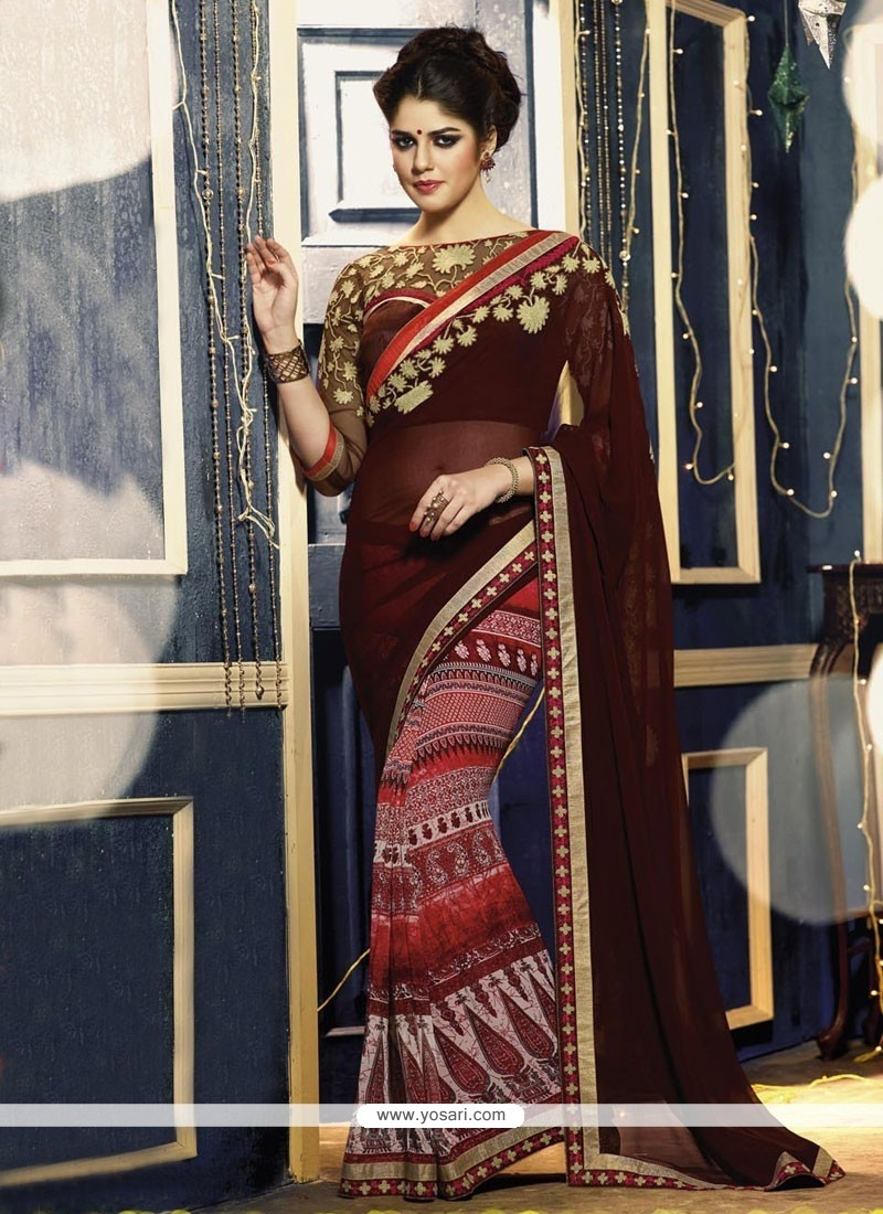 Maroon And Red Printed Saree