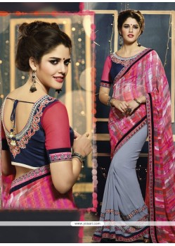 Splendid Grey Georgette Saree