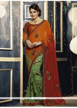 Orange And Green Georgette Saree