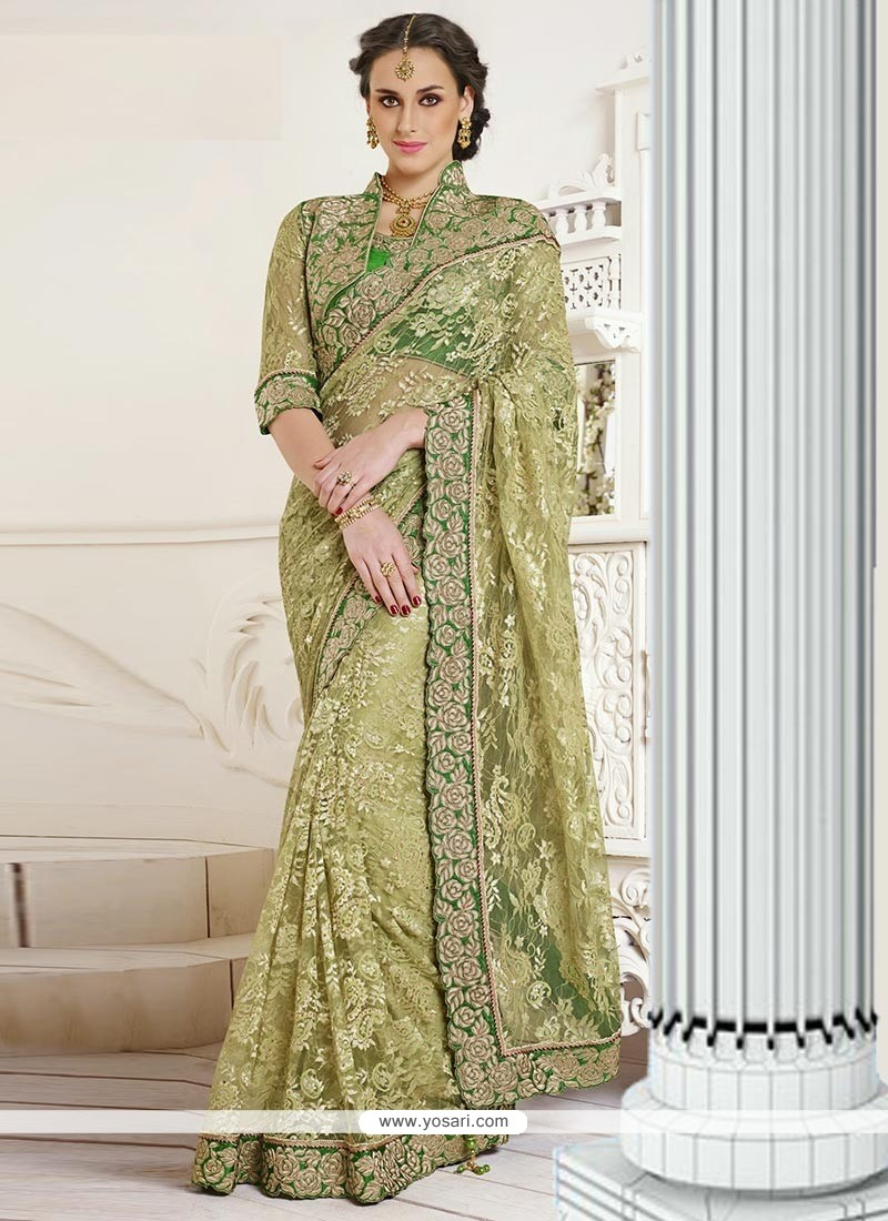Awesome Green Net Jacquard Designer Saree
