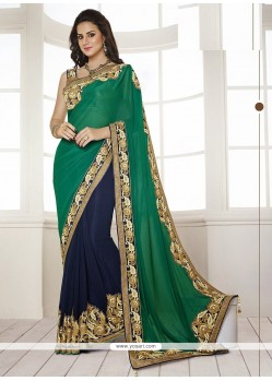Glorious Green Georgette Half And Half Saree