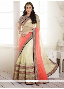 Latest Beige Net Lehenga Saree