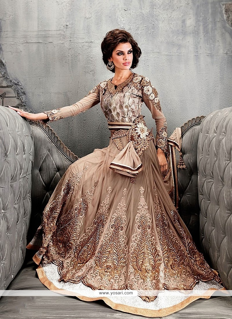 Grey And Brown Shade Georgette Anarkali Suit