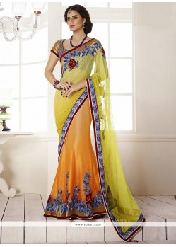 Yellow Satin Lehenga Saree