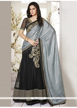 Black And Grey Crepe Lehenga Saree