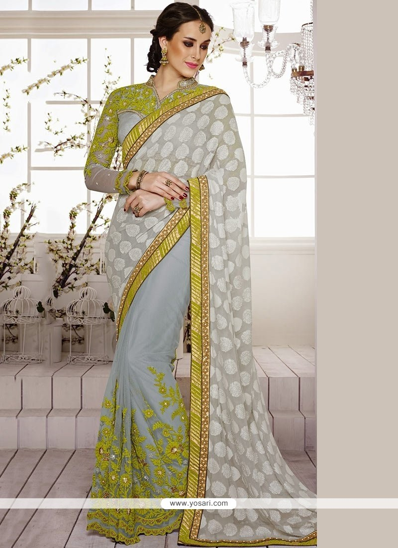 Grey Net And Chiffon Half And Half Saree