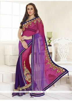 Pink Satin And Chiffon Designer Saree