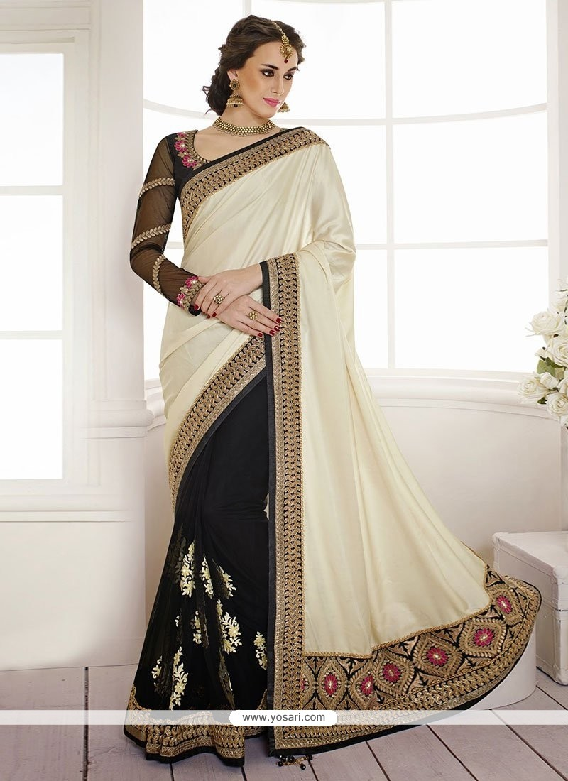 Off White And Black Half And Half Saree