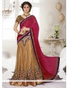 Gold And Pink Satin Lehenga Saree