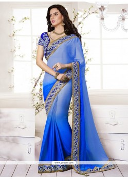 Amazing Blue Chiffon Saree