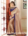 Elite Beige Shimmer Georgette Saree
