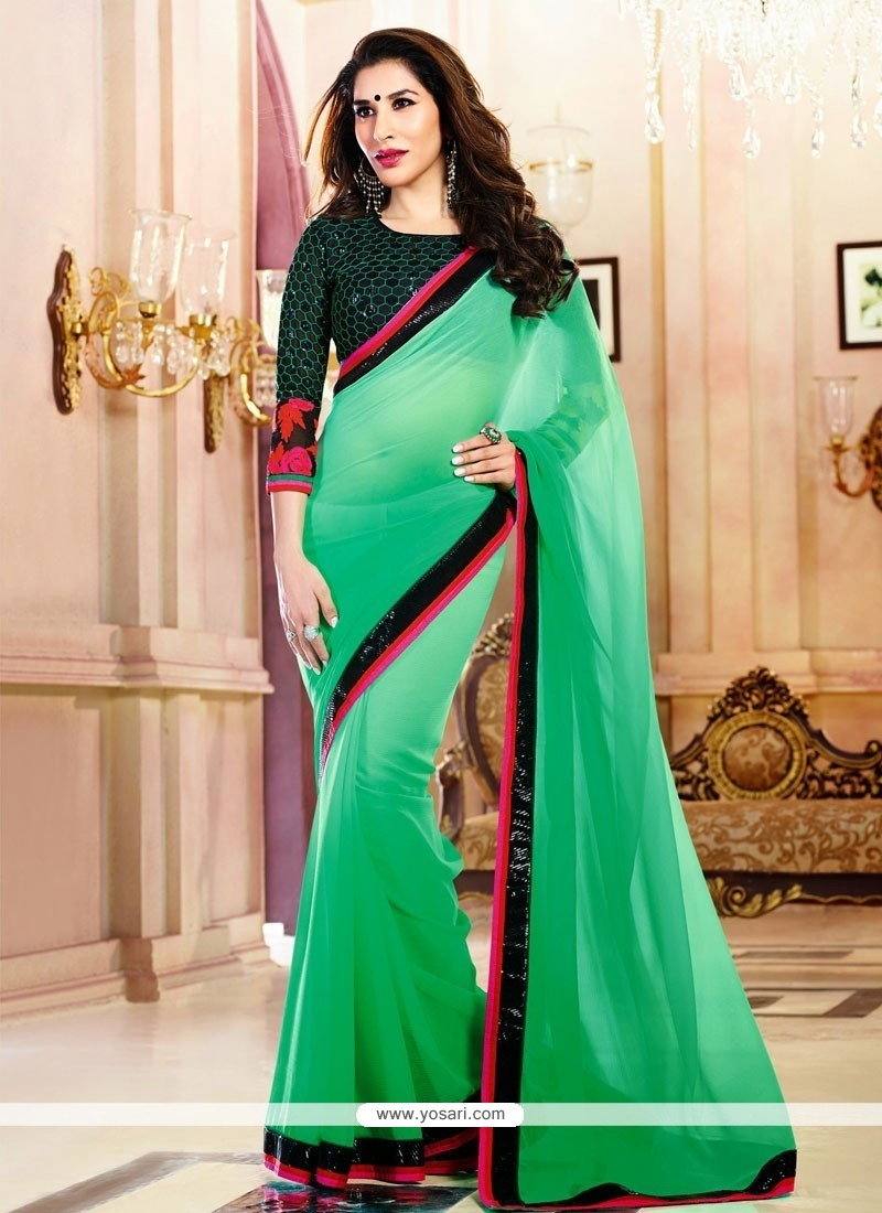 Glorious Green Chiffon Saree