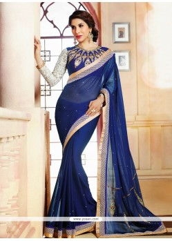 Alluring Blue Satin Party Wear Saree