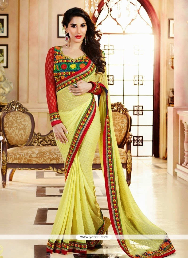 Lovely Yellow Georgette Saree