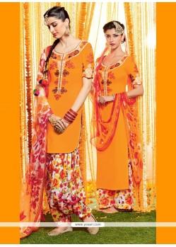 Praiseworthy Cotton Satin Orange Designer Suit
