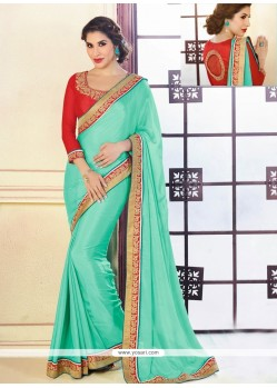 Turquoise Blue Satin Saree
