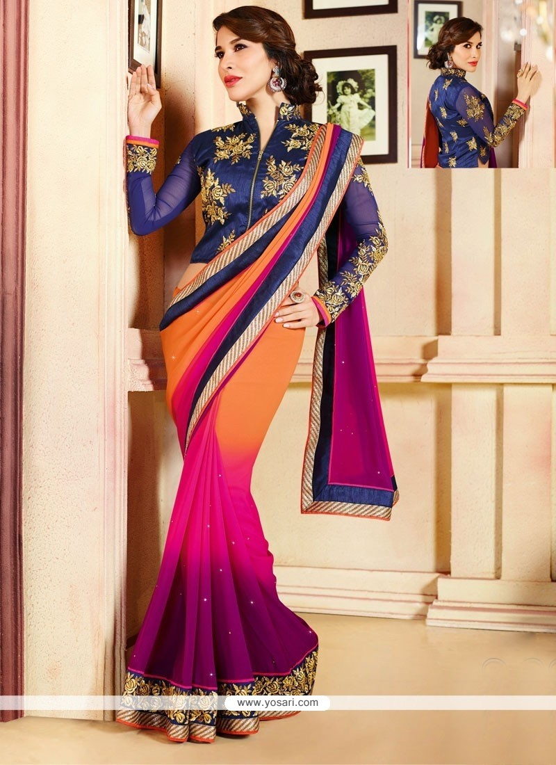 Magenta And Orange Georgette Saree