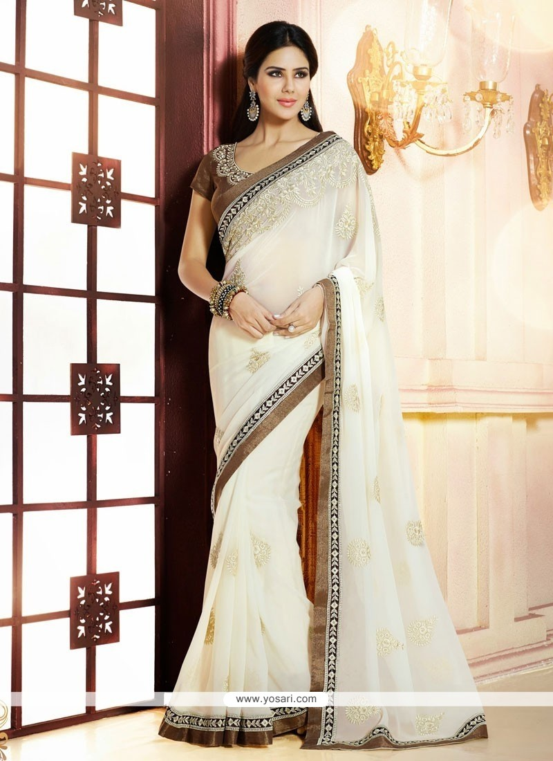 Off White Georgette Designer Saree