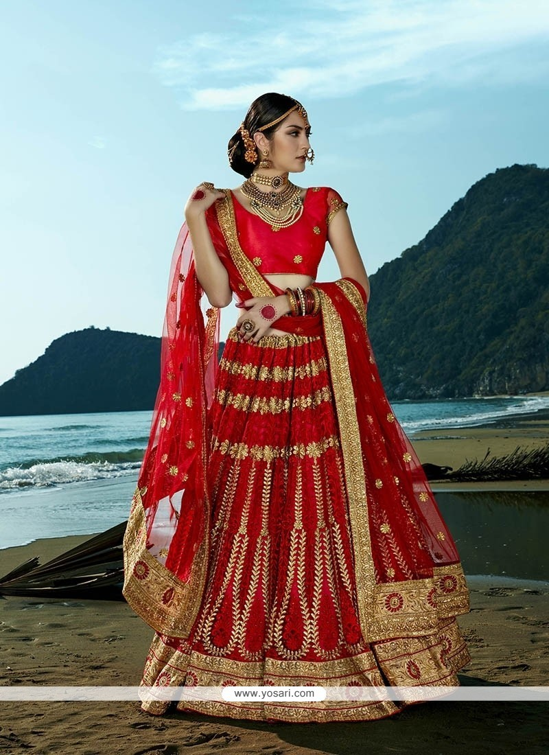 720a0c48e88 Shop online Spellbinding Net Red Embroidered Work A Line Lehenga Choli