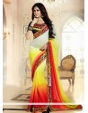 Yellow And Red Shaded Georgette Saree